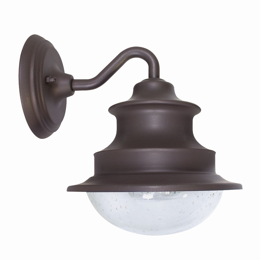 Gama Sonic-GS-122-Gama Sonic - 12 Inch LED Solar Barn Light Gooseneck Wall Mount  Matte Brown Finish with Hand Blown Bubbled Glass