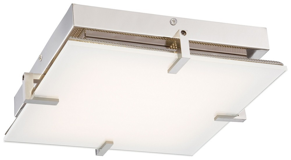 George Kovacs Lighting-P1111-613-L-Hooked - 14 Inch 30W 1 LED Flush Mount  Polished Nickel Finish with Clear/White Glass