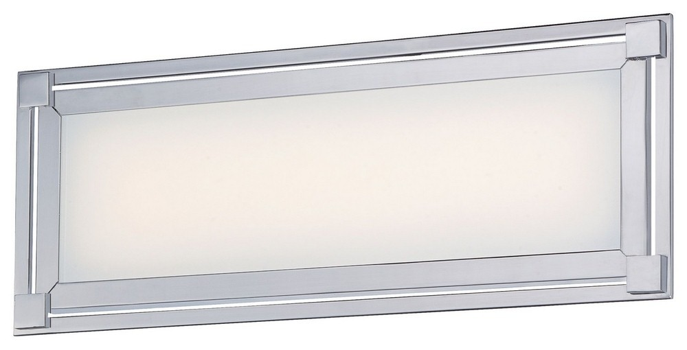 George Kovacs Lighting-P1162-077-L-Framed - 16 Inch 28W 1 LED Bath Vanity  Chrome Finish with White Glass