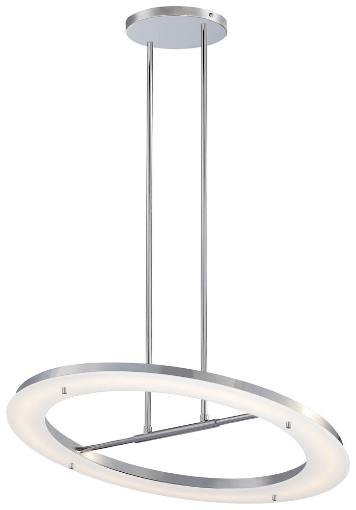 George Kovacs Lighting-P1900-077-L-Twist And Shout - 25 Inch 40W 1 LED Pendant  Chrome Finish with White Glass