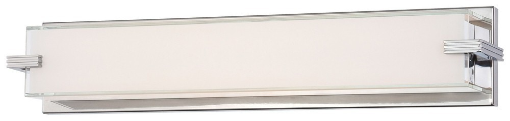 George Kovacs Lighting-P5216-077-L-Cubism - 24 Inch 40W 1 LED Bath Vanity  Chrome Finish with Mitered White Glass