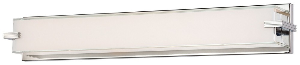 George Kovacs Lighting-P5217-077-L-Cubism - 30 Inch 40W 1 LED Bath Vanity  Chrome Finish with Mitered White Glass