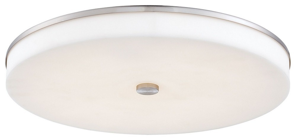 George Kovacs Lighting-P950-084-L-U.H.O. - 15 Inch 40W 1 LED Flush Mount  Brushed Nickel Finish with White Glass