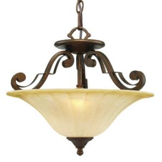 Golden Lighting 1089-SF RSB Pemberly Court - Three Light Convertible Semi-Flush Mount
