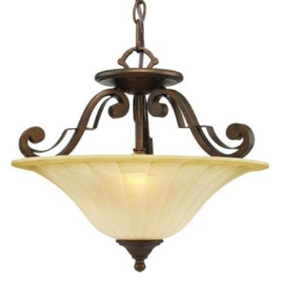 Golden Lighting 1089-SF RSB Pemberly Court - Three Light Convertible Semi-Flush Mount