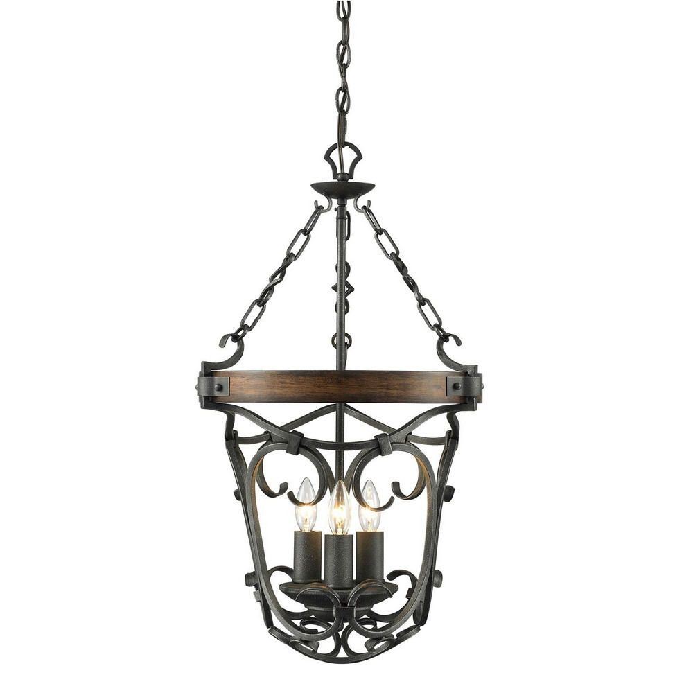 Golden Lighting-1821-3P BI-Madera - 3 Light Pendant  Black Iron Finish with Wood Accents