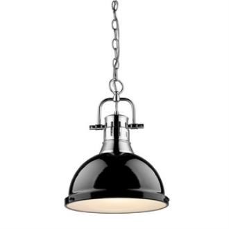 Golden Lighting 3602-L CH-BK Duncan - One Light Pendant