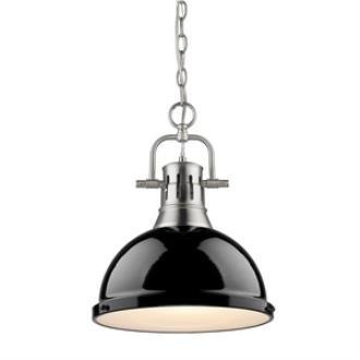 Golden Lighting 3602-L PW-BK Duncan - One Light Pendant
