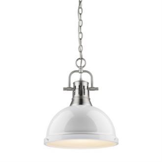 Golden Lighting 3602-L PW-WH Duncan - One Light Pendant