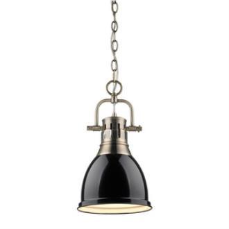 Golden Lighting 3602-S AB-BK Duncan - One Light Mini Pendant