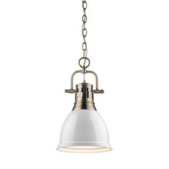 Golden Lighting 3602-S AB-WH Duncan - One Light Mini Pendant