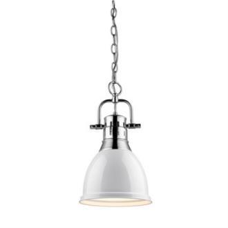 Golden Lighting 3602-S CH-WH Duncan - One Light Mini Pendant