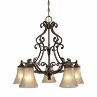Golden Lighting 4002-D5 RSB Loretto 5 Light Nook Chandelier