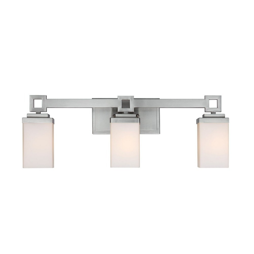 Golden Lighting-4444-BA3 PW-Nelio - 3 Light Bath Bar  Pewter Finish with Cased Opal Glass