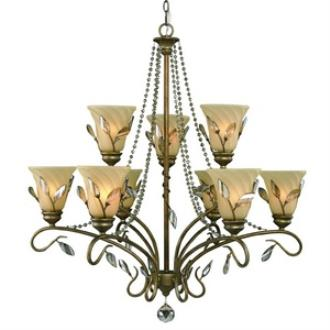 Golden Lighting 5400-9 RG Beau Jardin - Nine Light 2-Tier Chandelier