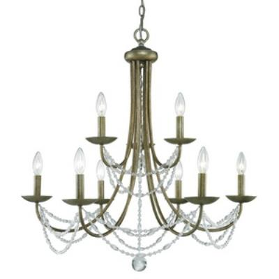 Golden Lighting 7644-9 GA Mirabella - Nine Light 2-Tier Chandelier