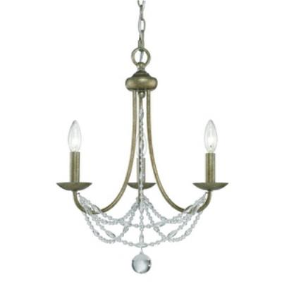 Golden Lighting 7644-M3 GA Mirabella - Three Light Mini Chandelier