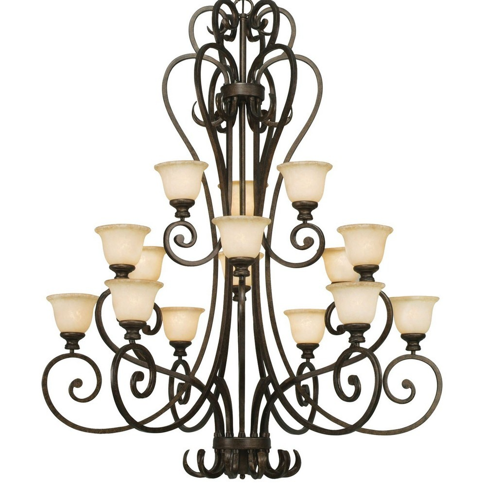 Golden Lighting-8063-15L BUS-Heartwood 3 Tier Chandelier  Burnt Sienna Finish with Tea Stone Glass