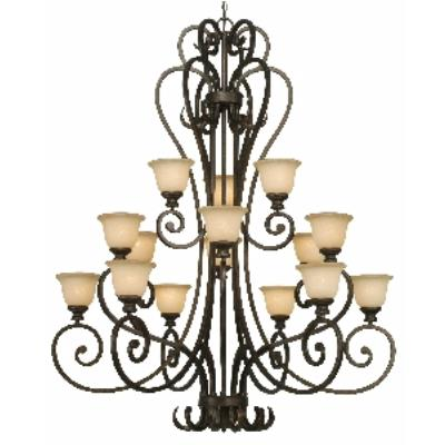 Golden Lighting 8063-15L BUS 3 Tier Chandelier