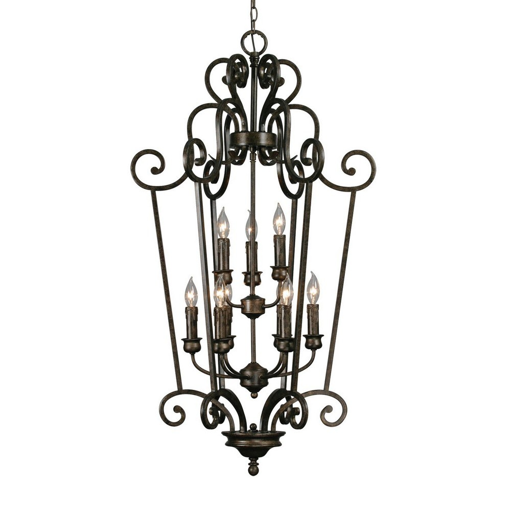 Golden Lighting-8063-CG9 BUS-Heartwood Caged Foyer Pendant  Burnt Sienna Finish with Tea Stone Glass