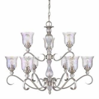 Golden Lighting 8118-9 PW Alston Place - Nine Light 2-Tier Chandelier