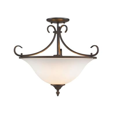 Golden Lighting 8606-SF RBZ-OP Homestead - Three Light Convertible Semi-Flush Mount