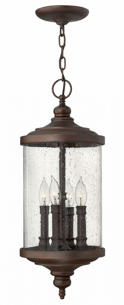 Hinkley Lighting-1752VZ-Barrington - Four Light Outdoor Hanger  Victorian Bronze Finish with Clear Seedy Glass