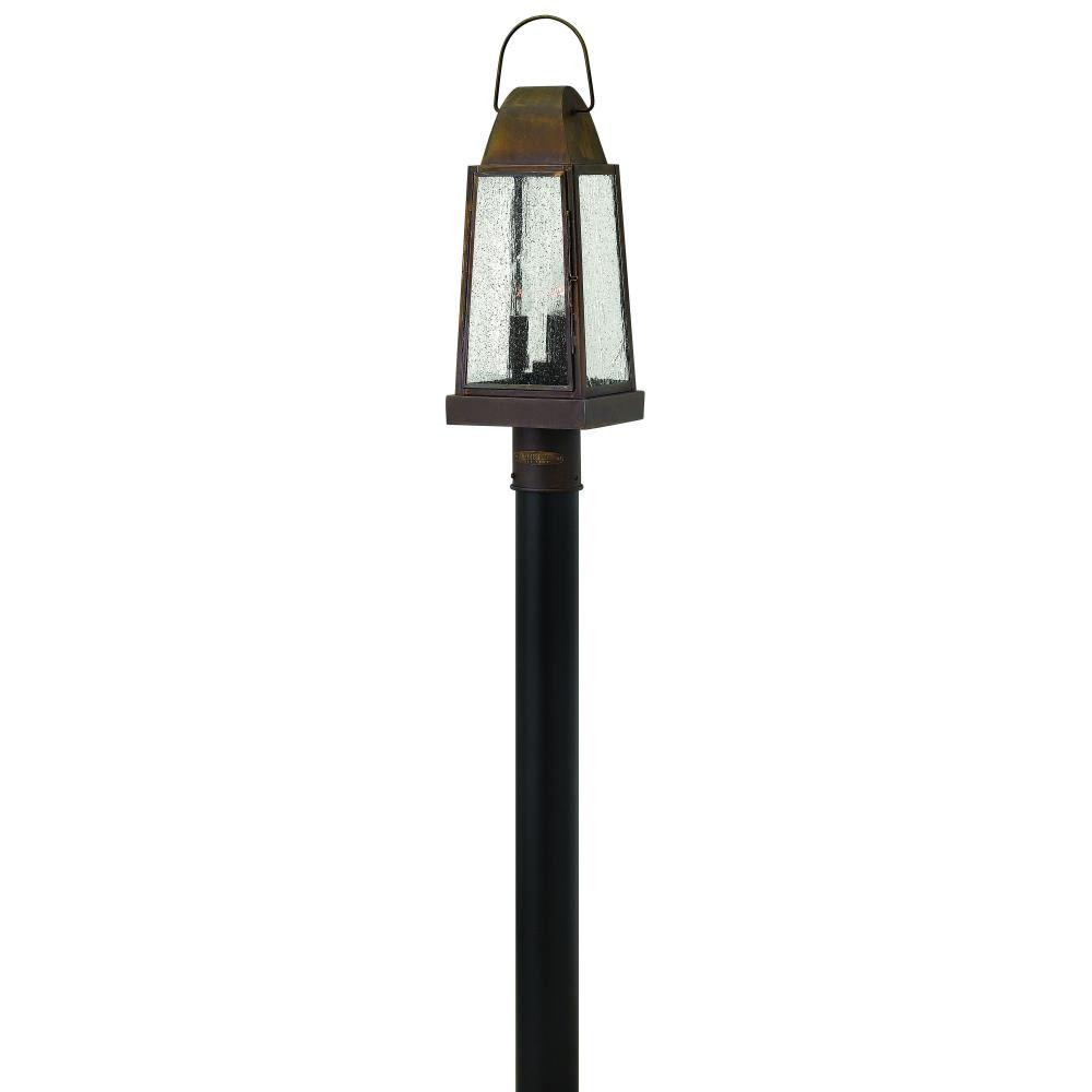 Hinkley Lighting-1771SN-Sedgwick - Three Light Outdoor Post  Sienna Finish with Clear Seedy Glass