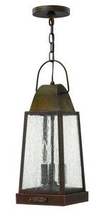 Hinkley Lighting-1772SN-Sedgwick - Three Light Outdoor Hanging Lantern  Sienna Finish with Clear Seedy Glass