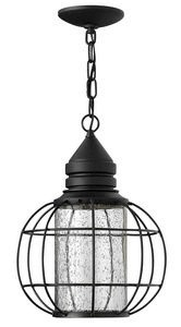 Hinkley Lighting-2252BK-New Castle - One Light Outdoor Hanging Lantern  Black Finish with Clear Seedy Glass