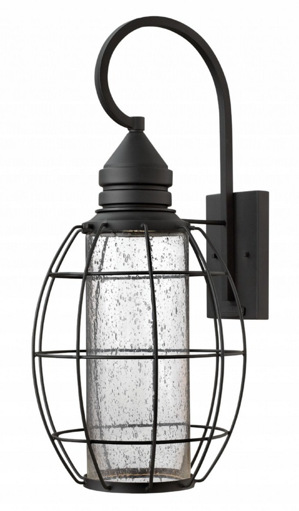 Hinkley Lighting-2258BK-New Castle - One Light X-Large Tall Outdoor Wall Mount  Black Finish with Clear Seedy Glass