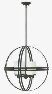 Hinkley Lighting-3274BZ-Atrium - Four Light Chandelier  Bronze Finish with Etched Opal Glass