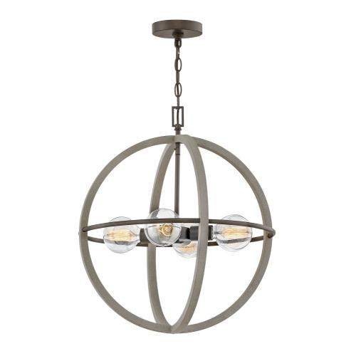 Minimalist Iron Ring Chandelier: Four Light Small Orb