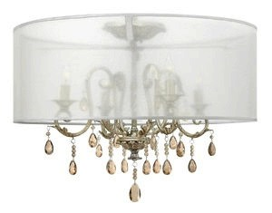 Hinkley Lighting-4771SL-Carlton - Four Light Semi-Flush Mount  Silver Leaf Finish with Amber Pearl Crystal Glass with Organza Shade