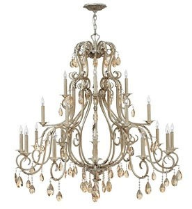 Hinkley Lighting-4779SL-Carlton - Twenty-One Light 3-Tier Chandelier  Silver Leaf Finish with Amber Pearl Crystal Glass with Organza Shade