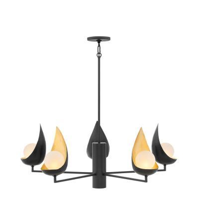 Hinkley lighting 47905blk ren six light chandelier mozeypictures Gallery