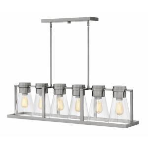 Refinery - Six Light Stem Hung Linear Chandelier
