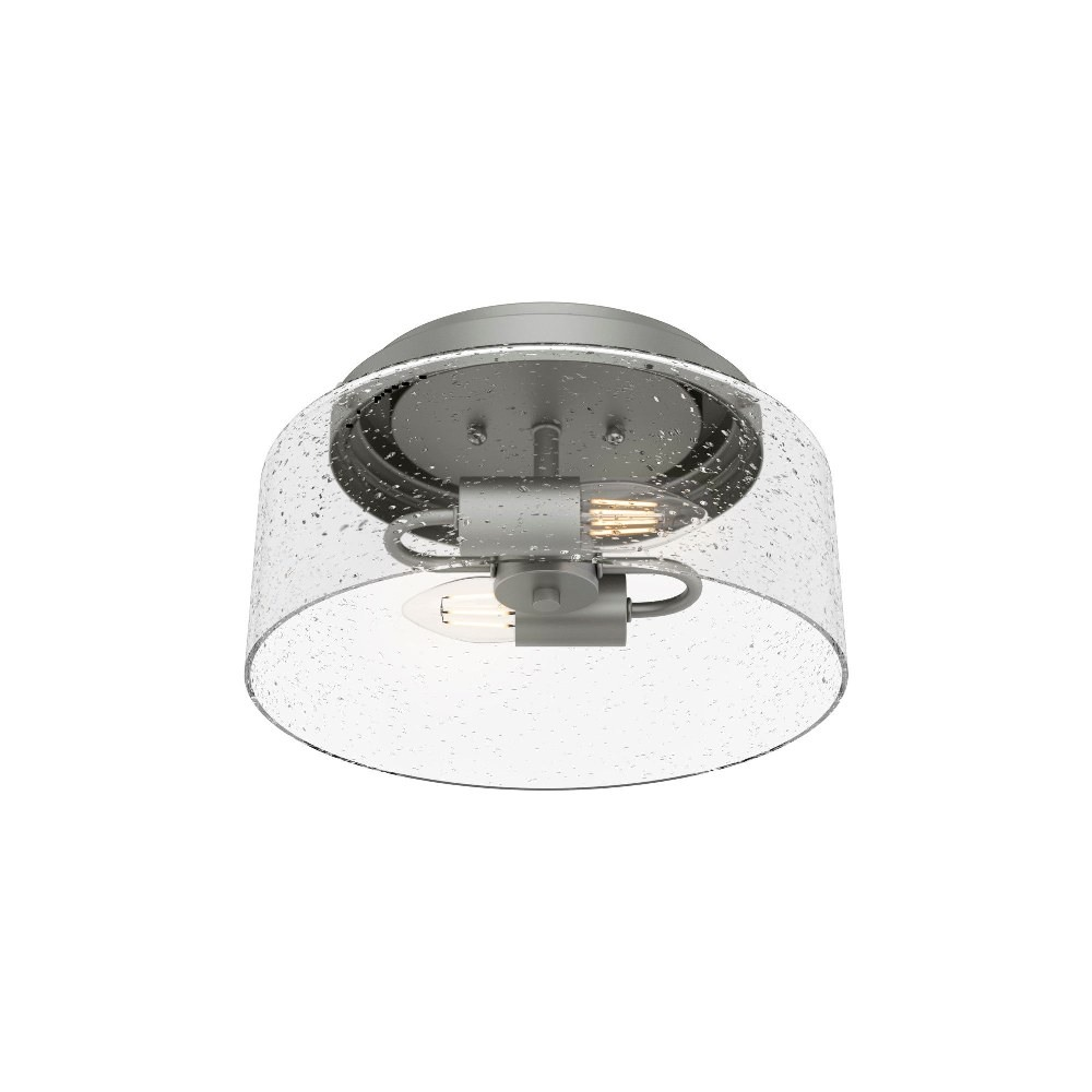 Hunter Fans-19014-Hartland - Two Light Cylinder Flush Mount  Matte Silver Finish with Seeded Glass