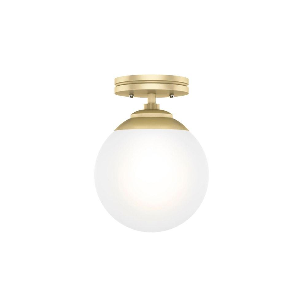 Hunter Fans-19020-Hepburn - One Light Sputnik Flush Mount  Painted Modern Brass Finish with White Glass