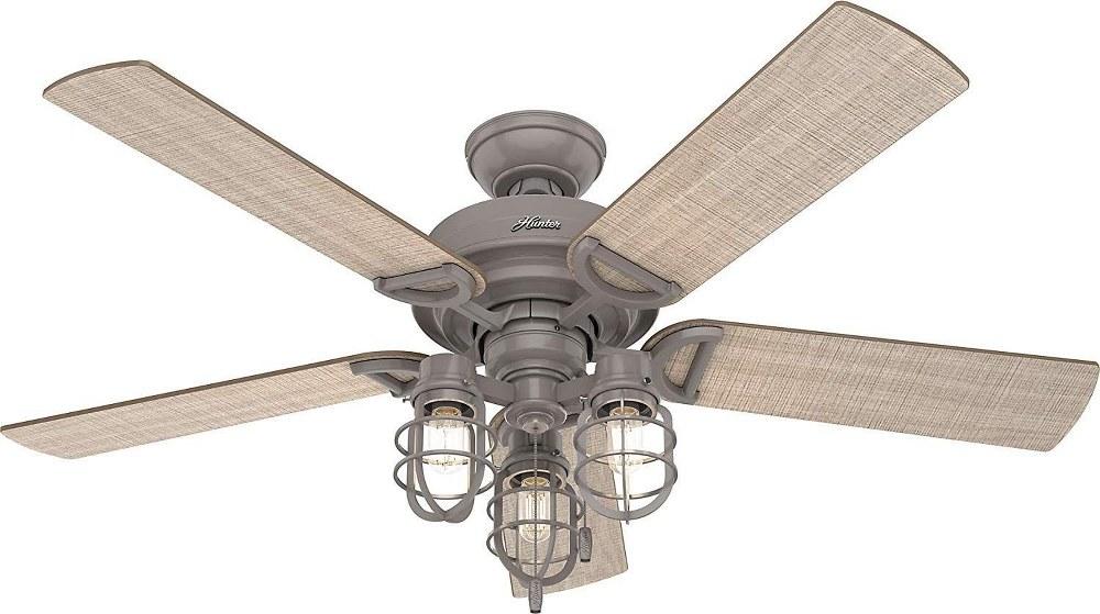 Hunter Fans-50410-Starklake - 52 Inch Ceiling Fan with Light Kit  Quartz Gray Finish with Washed Walnut/Grey Pine Blade Finish
