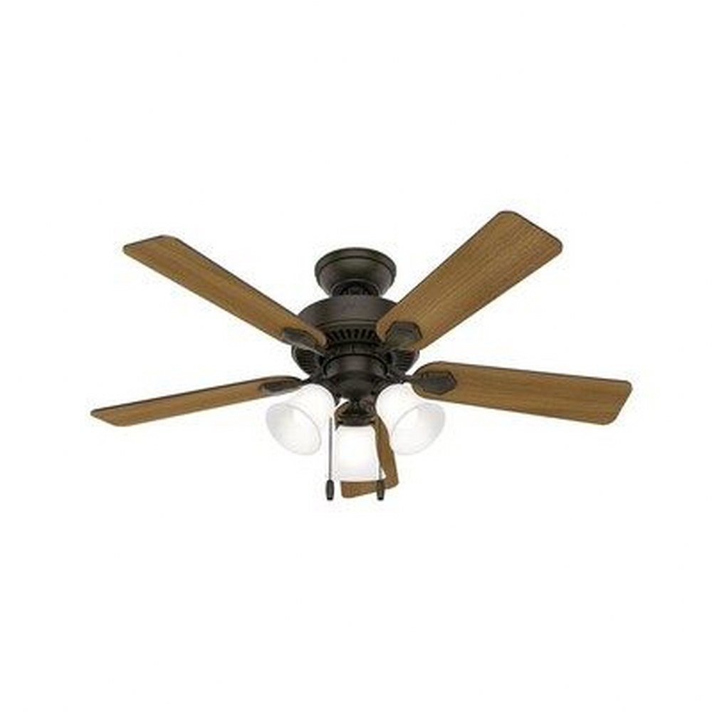 Hunter Fans-50881-Swanson - 44 Inch Ceiling Fan with Light Kit and Pull Chain  New Bronze Finish with American Walnut/Greyed Walnut Blade Finish with Clear Frosted Glass