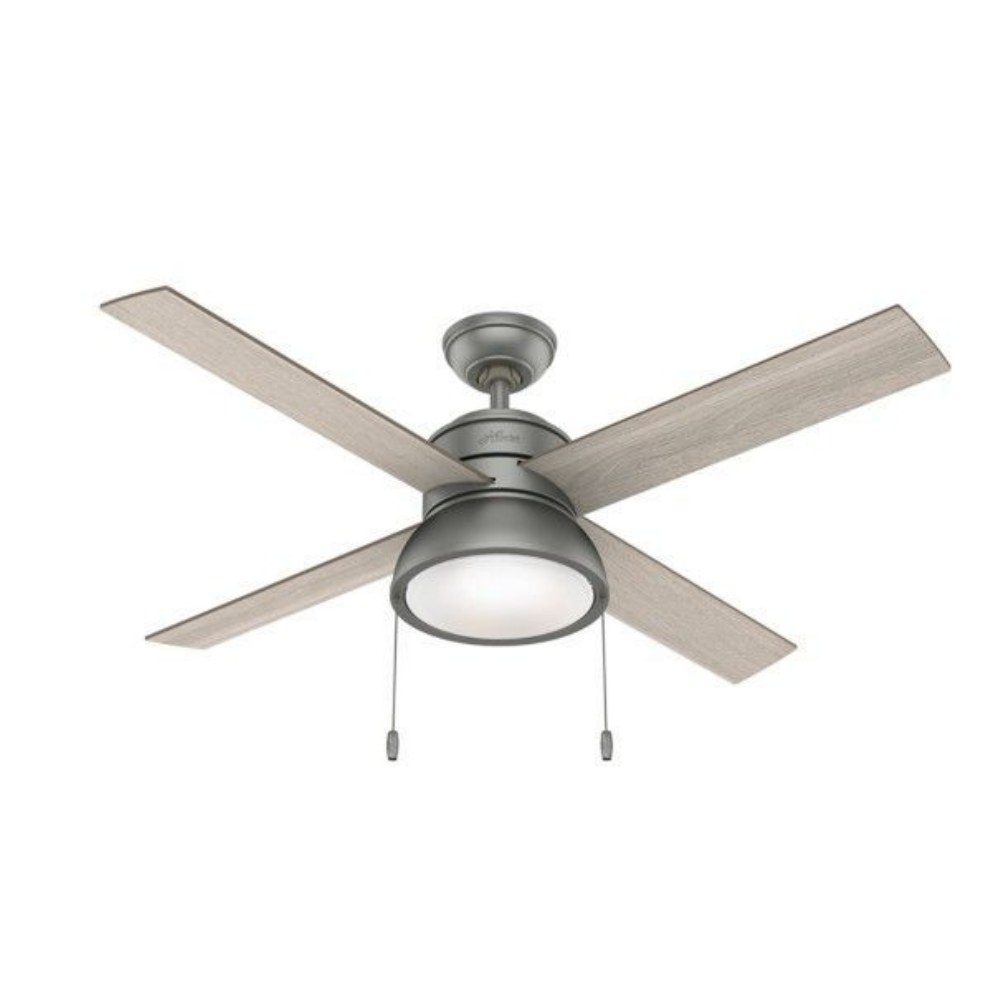 Hunter Fans-51031-Loki 52 Ceiling Fan with LED Light and Pull Chain  Matte Silver