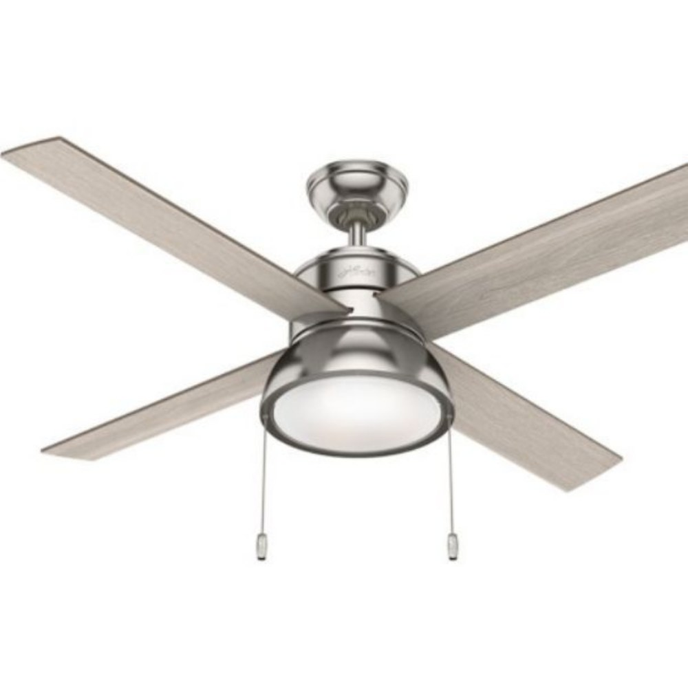 Hunter Fans-51032-Loki 52 Ceiling Fan with LED Light and Pull Chain  Brushed Nickel