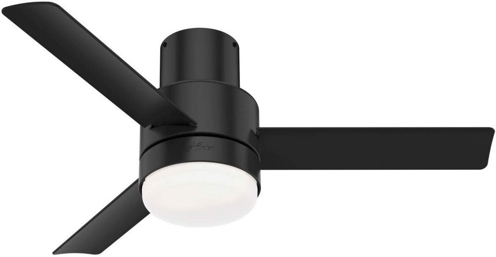 Hunter Fans-51333-Gilmour - 44 Inch Ceiling Fan with Light Kit and Remote Control  Matte Black Finish with Matte Black/Matte Black Blade Finish with Painted Cased White Glass