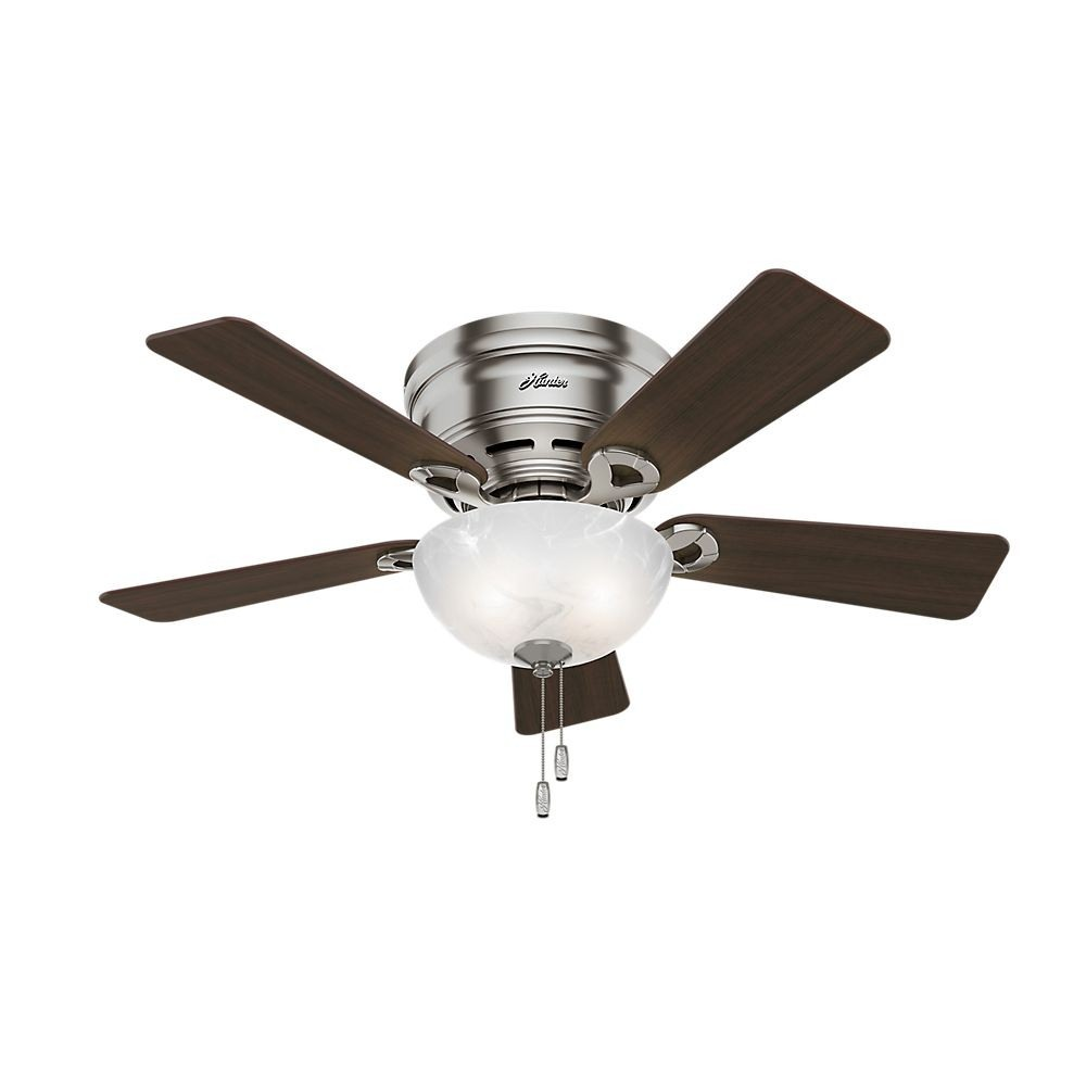 Hunter Fans-52139-Haskell - 42 Inch Ceiling Fan with Light Kit  Brushed Nickel Finish with Maple Blade Finish with Swirled Marble Glass