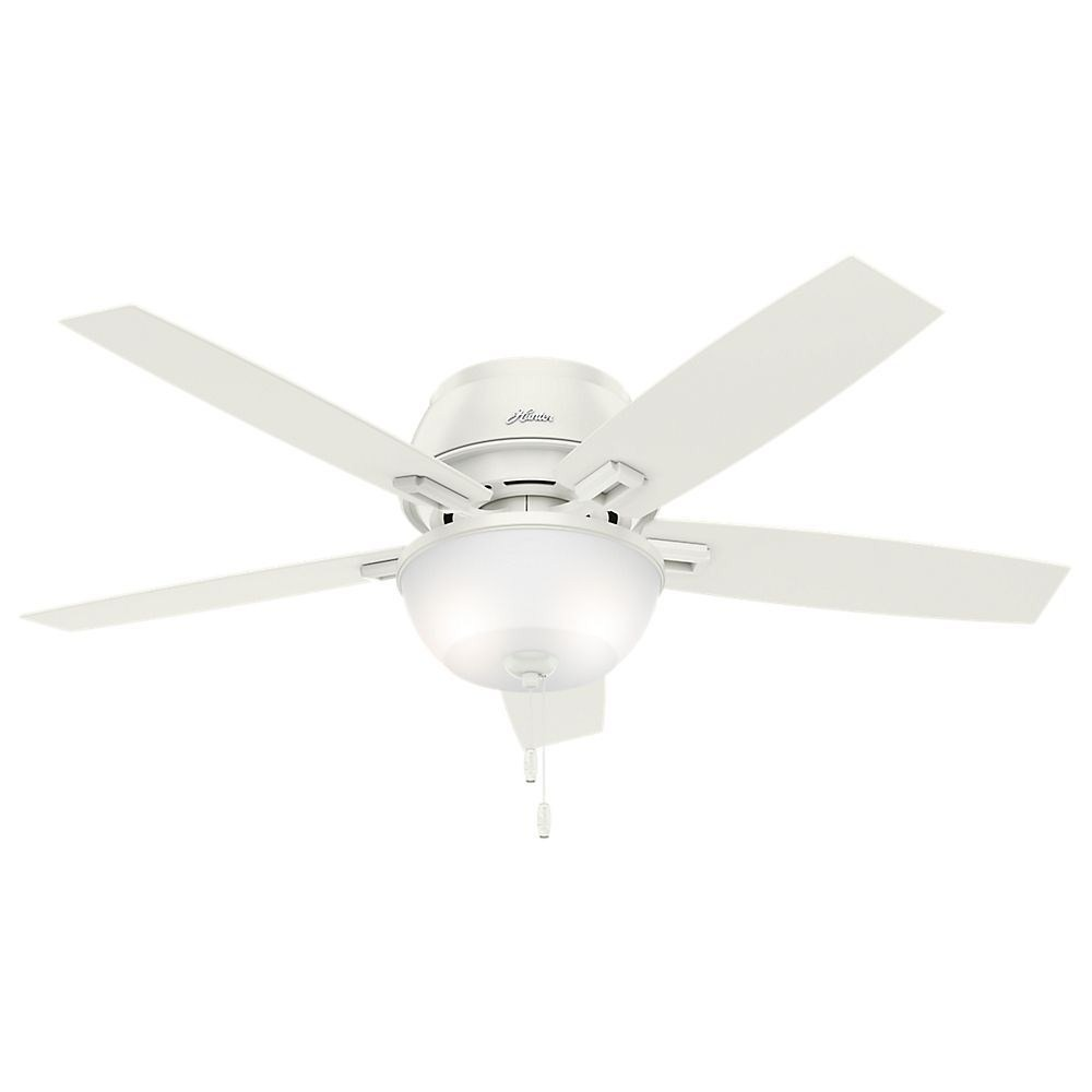 Hunter Fans-53343-Donegan - 52 Inch LED Ceiling Fan with Light Kit  Fresh White Finish with Fresh White Blade Finish with Clear Frosted Glass