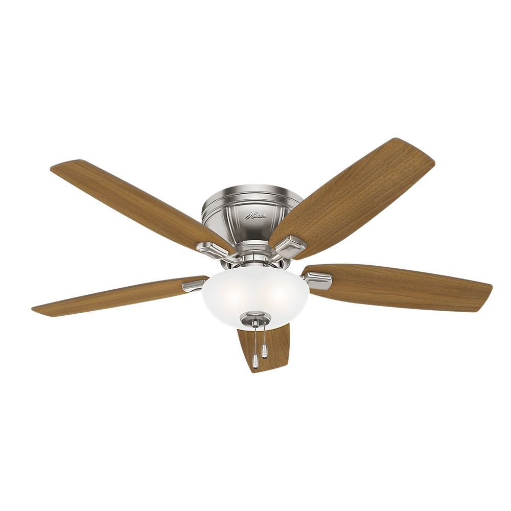 Hunter Fans-53380-Kenbridge - 52 Inch Ceiling Fan with Light Kit  Brushed Nickel Finish with White Glass