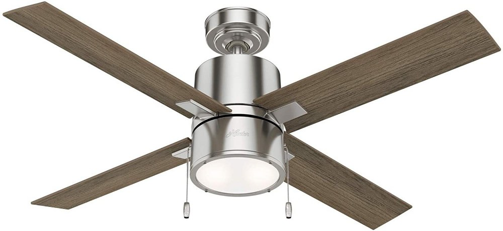 Hunter Fans-54214-Beck - 52 Inch Ceiling Fan with Light Kit and Pull Chain  Brushed Nickel Finish with Light Gray Oak/Warm Grey Oak Blade Finish with Painted Cased White Glass