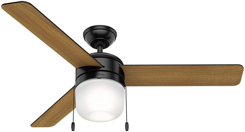 Hunter Fans-59404-Acumen - 52 Inch Ceiling Fan with Light Kit and Pull Chain  Matte Black Finish with Matte Black/American Walnut Blade Finish with Frosted Glass