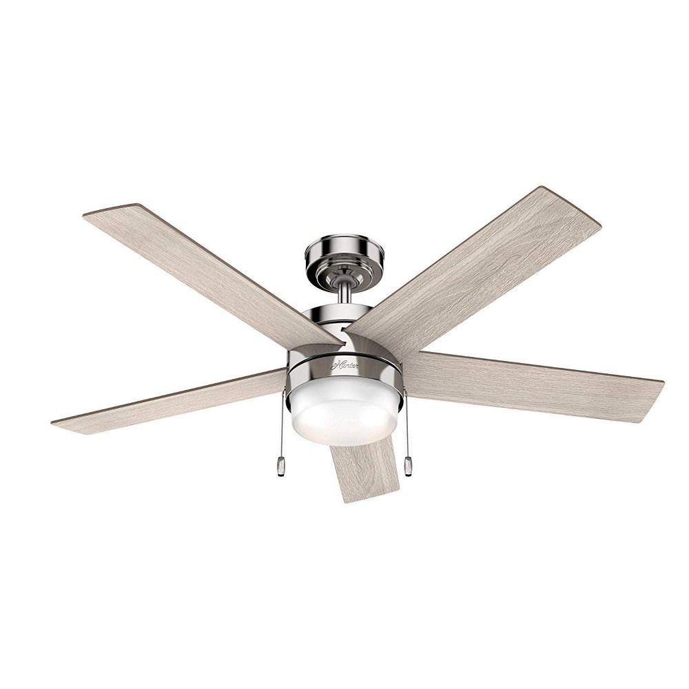 Hunter Fans-59621-Claudette - 52 Inch Ceiling Reversible Fan with LED Light  Polished Nickel Finish with Light Grey Oak/Drifted Oak Blade Finish with White Cased Shiny Glass